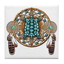 Turquoise Tortoise Dreamcatcher Tile Coaster