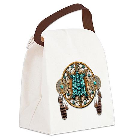 Turquoise Tortoise Dreamcatcher Canvas Lunch Bag