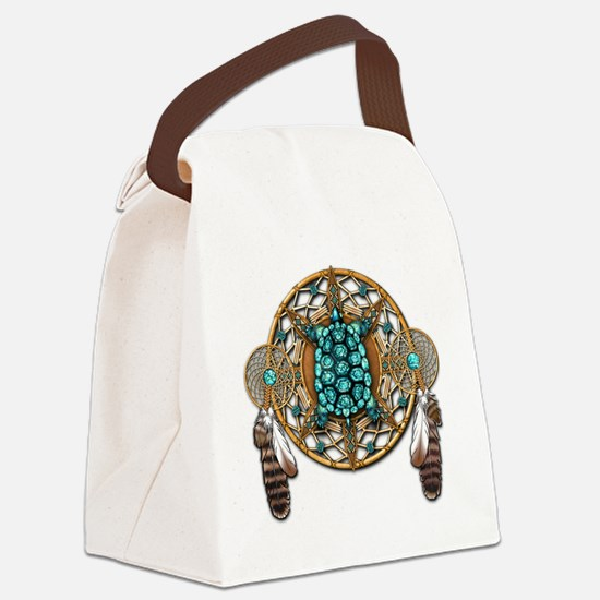 Turquoise Tortoise Dreamcatcher Canvas Lunch Bag
