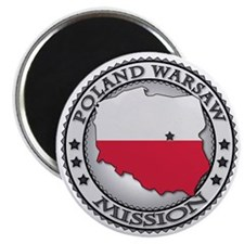 Poland Warsaw LDS Mission Flag Cutout Map Magnet
