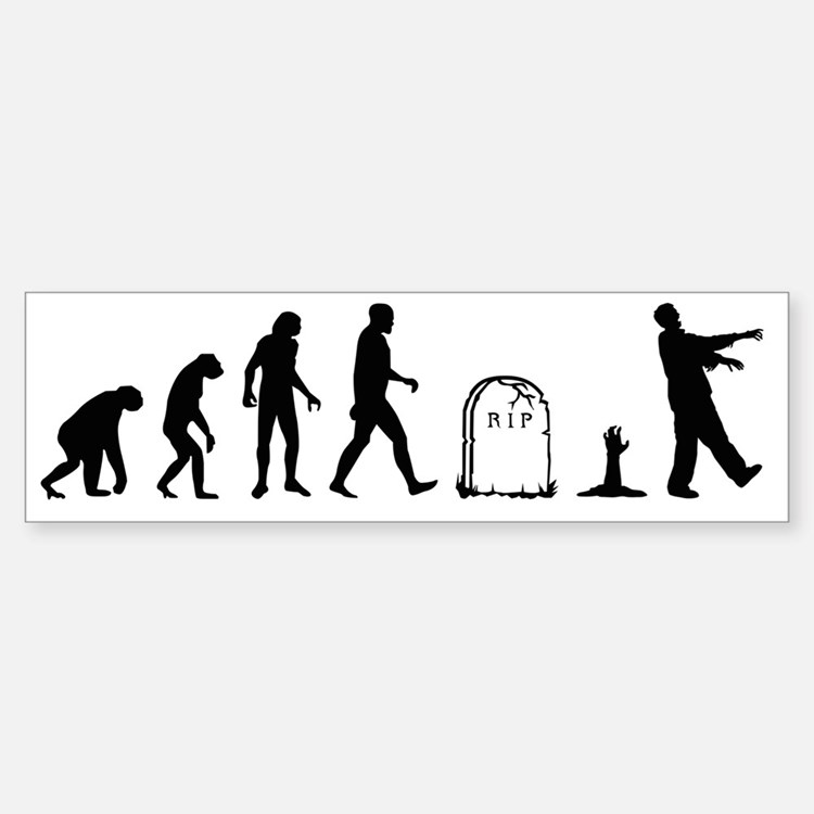 zombie evolution Bumper Bumper Sticker