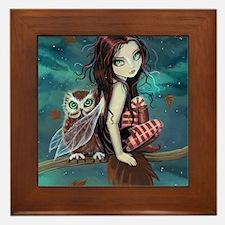 Autumn Owl and Fairy Framed Tile
