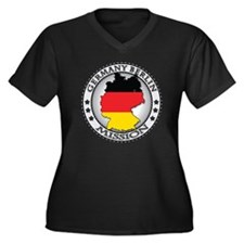 Germany Berl Women's Plus Size Dark V-Neck T-Shirt