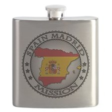 Spain Madrid LDS Mission Flag Cutout Map Flask