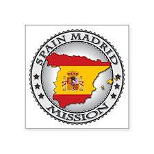 "Spain Madrid LDS Mission Fl Square Sticker 3"" x 3"""