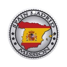 Spain Madrid LDS Mission Flag Cutou Round Ornament