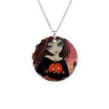 Autumn Fire Necklace Circle Charm