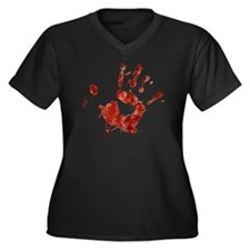 Bloody Handp Women's Plus Size Dark V-Neck T-Shirt