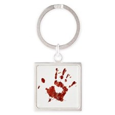 Bloody Handprint Right Square Keychain
