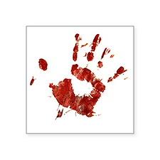 "Bloody Handprint Right Square Sticker 3"" x 3"""