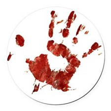 Bloody Handprint Right Round Car Magnet