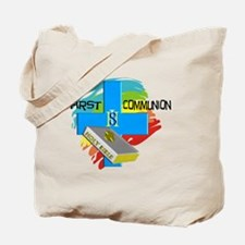 First Communion IHS Blue Cross Tote Bag