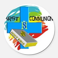 First Communion IHS Blue Cross Round Car Magnet