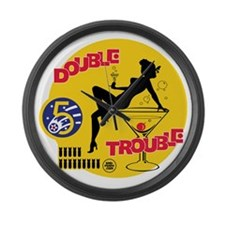 Double Trouble Pin Up Nose Art Large Wall Clock