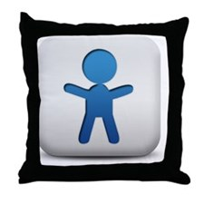 matte-blue-and-white-square-icon-peop Throw Pillow