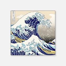 "Hokusai_Great_WaveShowerCur Square Sticker 3"" x 3"""