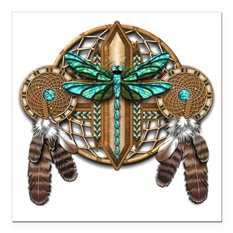 "Labradorite Dragonfly Dr Square Car Magnet 3"" x 3"""