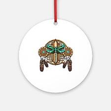 Labradorite Dragonfly Dreamcatcher Round Ornament