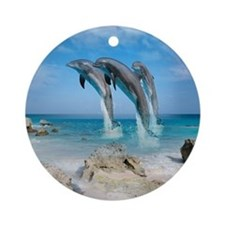 Dolphin Jump Tiles Round Ornament