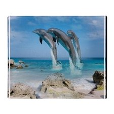 Dolphin Jump Tiles Throw Blanket