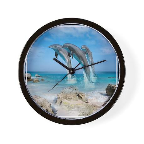 Dolphin Jump Tiles Wall Clock