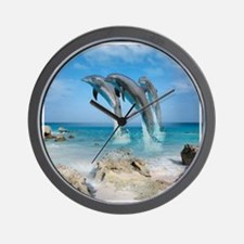 Dolphin Jump Tiles Wall Clock