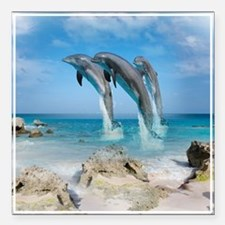 "Dolphin Jump Tiles Square Car Magnet 3"" x 3"""