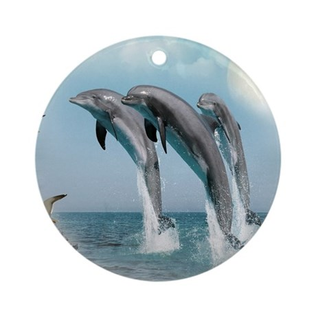 dolphin jump mousepad Round Ornament