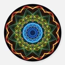 Sky and Leaves Kaleidoscope Round Car Magnet
