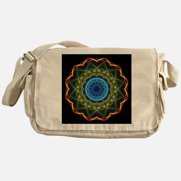 Sky and Leaves Kaleidoscope Messenger Bag