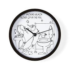3485_salmon_cartoon Wall Clock