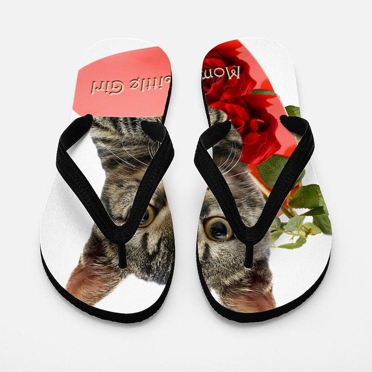 Gray Kitten Mommas Girl Flip Flops