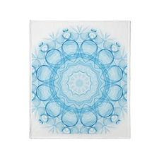 Blue Queens Mandala Throw Blanket