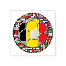 "Belgium Flag World Cup Foot Square Sticker 3"" x 3"""