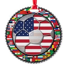 United States Flag World Cup Footba Round Ornament