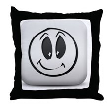 matte-white-square-icon-symbols-shape Throw Pillow