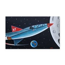 X-7 MOON ROCKET Rectangle Car Magnet