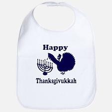 Happy Thanksukkah 3 navy Bib