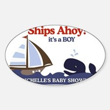 Ships Ahoy Whale Baby Shower sign Decal