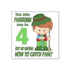 """four year old fisherman Square Sticker 3"""" x 3"""""""