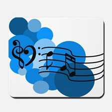 Blue Music Clefs Heart Mousepad