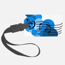 Blue Music Clefs Heart Luggage Tag