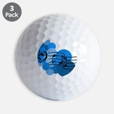 Blue Music Clefs Heart Golf Ball