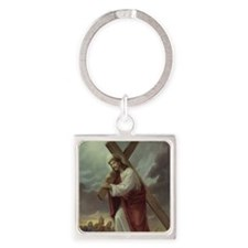 jesus_carrying_cross Square Keychain