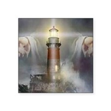"Jesus_Lighthouse Square Sticker 3"" x 3"""