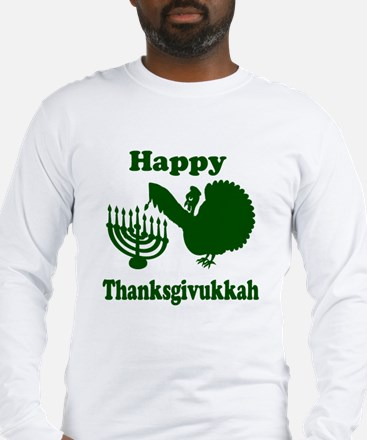 Happy Thanksukkah 3 green Long Sleeve T-Shirt