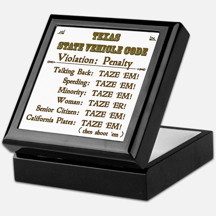 TexasVehicleCode_10x10 Keepsake Box