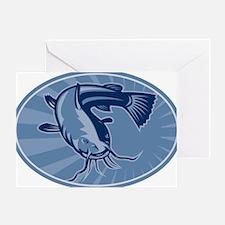 Bullhead Catfish Retro Woodcut Greeting Card