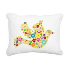 Yellow Floral Dove Rectangular Canvas Pillow