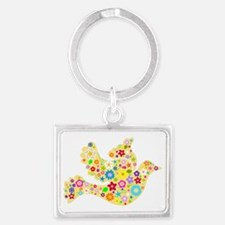 Yellow Floral Dove Landscape Keychain